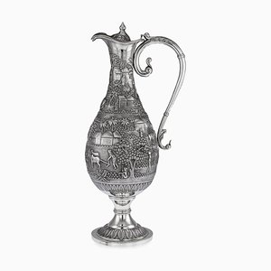 Large Antique Indian Solid Silver Ewer, 1900s