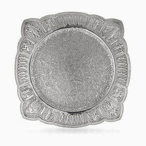 Antique Indian Solid Silver Tray from Cooke & Kelvey, 1880s