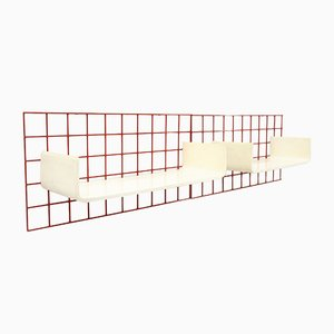 Red Metal Grid and White Curved Plywood Shelving Units, 1970s, Set of 2