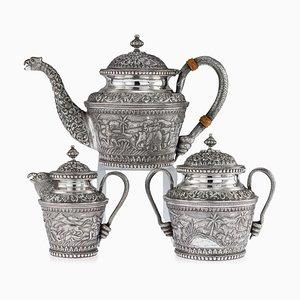 Antikes indisches Tee-Set aus karachi-geschliffenem massivem Silber von J. Manikrai, 1900er, 3er Set