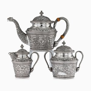 Antique Indian Karachi-cutch Solid Silver Tea Set from J. Manikrai, 1900s, Set of 3