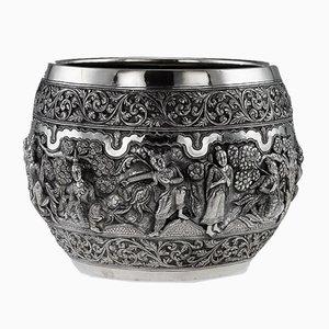 Antike Indische Poona Schale aus massivem Silber, 1880er