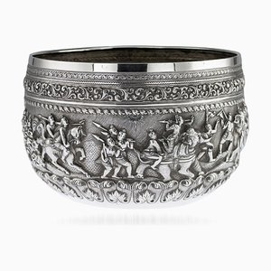 Antique Burmese Maung Po Kin Solid Silver Bowl from Maung Po Kin, 1890s