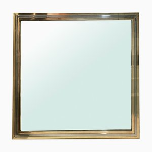 Vintage Chrome and Brass Mirror in the Style of Romeo Rega, 1970s