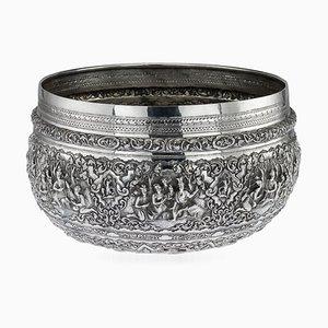 Antike burmesische Thabeik Schale aus solidem Silber, 1880er