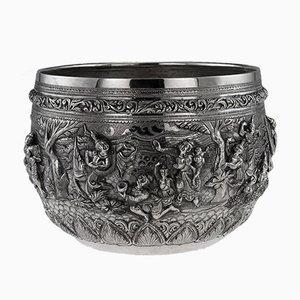 Antike burmesische Thabeik Schale aus massivem Silber, 1900er