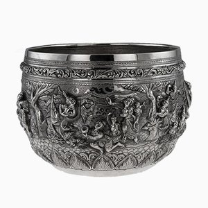 Antique Burmese Solid Silver Thabeik Bowl, 1900s