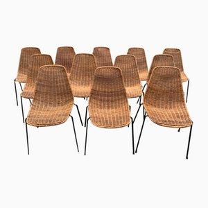 Chaises de Salon en Osier dans le Style de Campo e Graffi, Set de 12