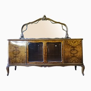 Italian Walnut Veneered Plywood Chippendale Sideboard with Mirror, 1950s