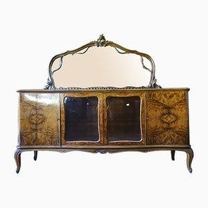 Italienisches Walnuss Furnier Sperrholz Chippendale Sideboard mit Spiegel, 1950er