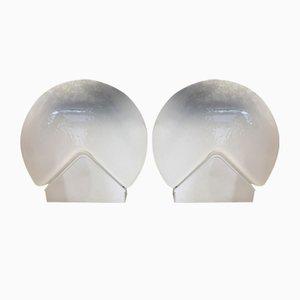 Murano Glas Tischlampen von Leucos, 1960er, 2er Set