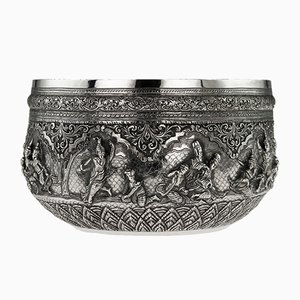 Antique Burmese Solid Silver Bowl from Maung Shwe Yon & Sons, 1890s