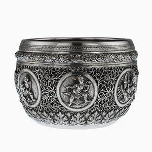 Antike birmanische Schale aus massivem Silber, 1900er