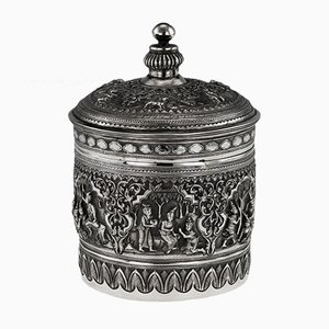 Antique Burmese Solid Silver Betel Box, 1900s