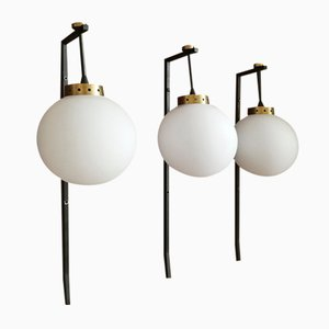 Spherical Opaline Glass and Metal Structure Sconces, 1950s, Set of 3