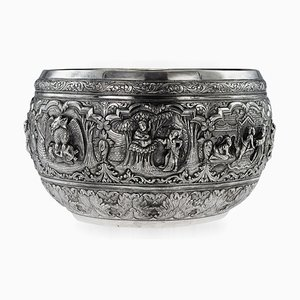 Antique Burmese Solid Silver Thabeik Bowl, 1880s