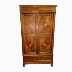 Antique Italian Rhombus Shaped Walnut Veneer Wardrobe, 1900s