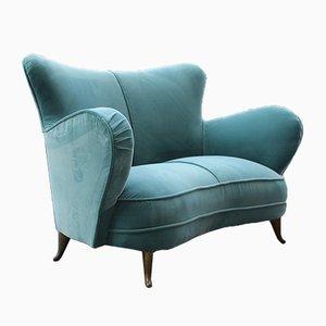 Mid-Century Italian Turquoise Velvet Sofa from ISA Bergamo, 1950s