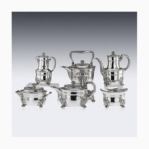 Servicio de té americano antiguo de plata maciza de Acanthus de Tiffany & Co, 1880s. Juego de 6