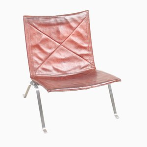 Mid-Century Patinated Leather Model PK22 Lounge Chair by Poul Kjærholm for E. Kold Christensen, 1960s