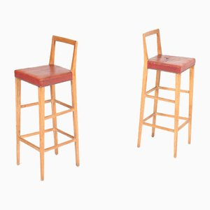 Mid-Century Danish Oak Bar Stools, 1950s, Set of 2