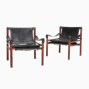 Mid-Century Leather Scirocco Lounge Chairs by Arne Norell for Arne Norell AB, 1960s, Set of 2