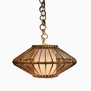Deckenlampe aus Korbgeflecht, 1960er
