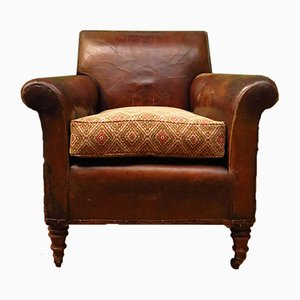 Art Deco French Leather and Kilim Club Armchair, 1930s