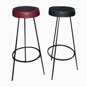 Mid-Century Black and Red Cast Iron Bar Stools, 1960s, Set of 2