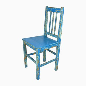 Antique Rustic Swedish Blue Dining Chair