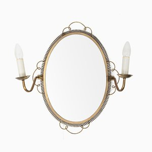 Vintage Swedish Brass Mirror with Sconces, 1950s