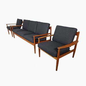Danish Teak 3-Seater Sofa and Lounge Chairs Set by Grete Jalk for France & Søn / France & Daverkosen, 1960s, Set of 3