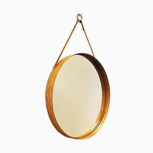Vintage Swedish Round Oak Mirror from Glasmäster, 1960s