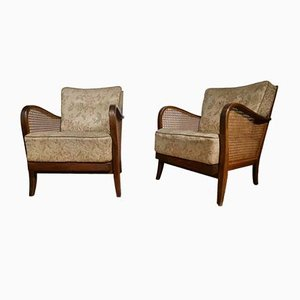 Vintage Wickerwork Floral Club Chairs, Set of 2