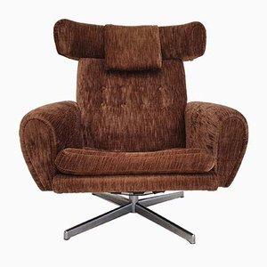 Danish Velour and Corduroy Swivel Chair, 1970s
