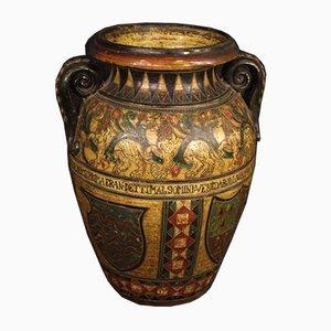 Italienische Vase aus bemaltem Terrakotta, 1960er