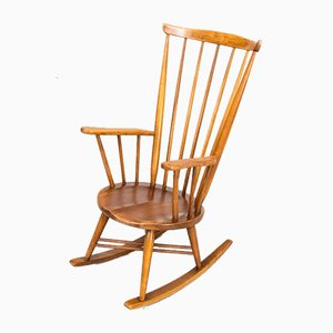 Wooden X Frame Rocking Chair, 1970s