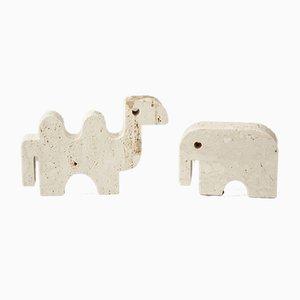 Brutalistische italienische Skulptur aus Kamel & Elefant von Fratelli Mannelli, 1970er, 2er Set