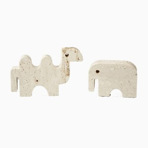 Italian Brutalist Camel and Elephant Sculpture by Fratelli Mannelli, 1970s, Set of 2