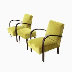 Italian Green Velvet Armchairs and Pouf Set, 1930s, Set of 3