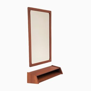 Teak Mirror and Shelf by Kai Kristiansen for Aksel Kjersgaard, 1960s, Set of 2