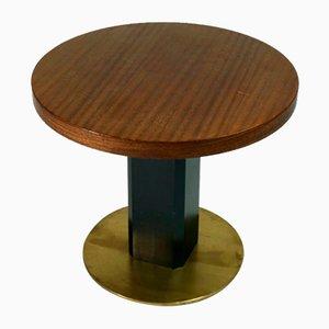 Tavolino da caffè in ottone e mogano, anni '80