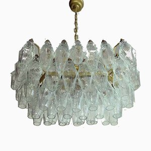 Polyhedra Transparent Murano Glass Chandelier from Carlo Scarpa, 1970s