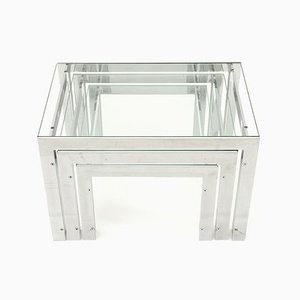 Italian Steel and Glass Nesting Tables by Alberto Rosselli for Saporiti Italia, 1970s, Set of 3