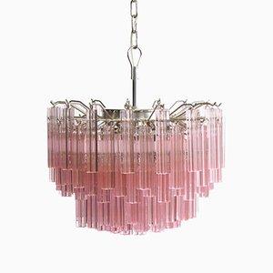 Murano Glas Pink Quadriedri Kronleuchter von Mazzega, 1980er