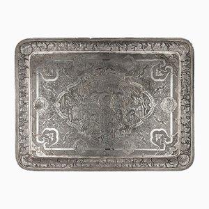 Große Persische Silberne Soild Wandtafel oder Tablett von Vafadar, 1930er