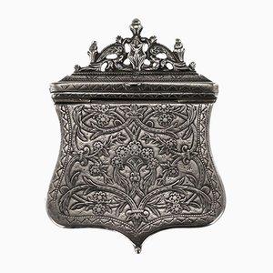 Antike Solider & Niello Palaska Cartrid Gürtelbox aus Massivem Silber, 1840er