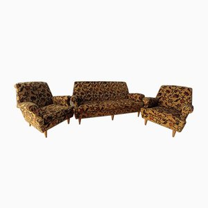 Italian Floral Fabric Sofa and Armchairs, 1960s, Set of 3