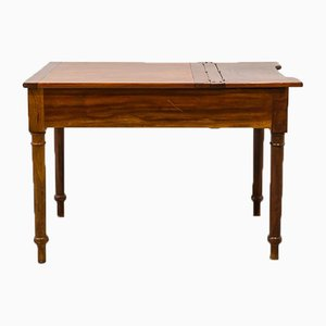 Antique Rustic Worktable with Drawer and Zinc Interior