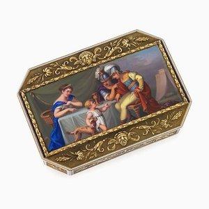 Antike schweizerische 18 Karat Gold & Emaille Schnupftabakdose, 1800er